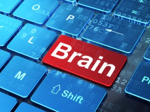 Image of computer keyboard with brain key